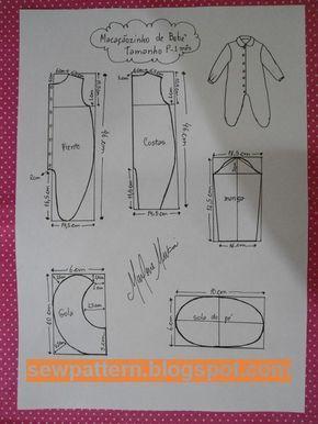 باترون مفصل لبدلة رضيع من سن شهر الى 12شهر - Sew Pattern
