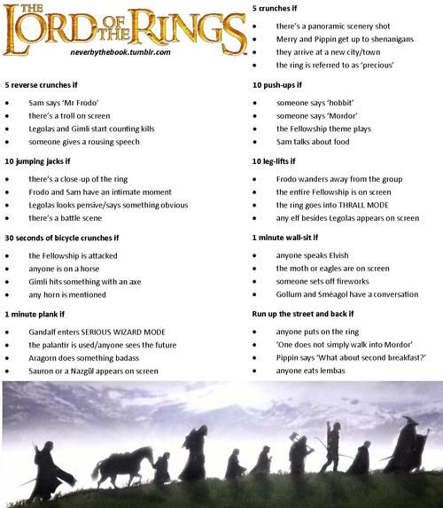 Lord of the Rings Workout haha for when Derek  decides it is time to watch these movies together! This could be entertaining.