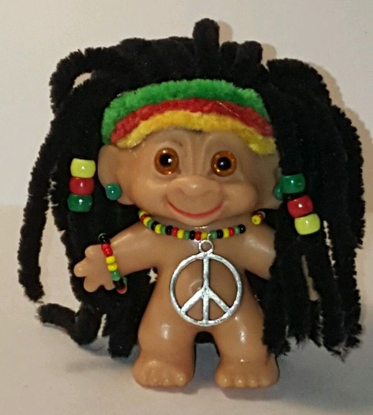 "Restored CUSTOM One of a Kind 2.5"" VINTAGE GLASS EYED HIPPIE DAM TROLL DOLL OOAK #Dam #Dolls"