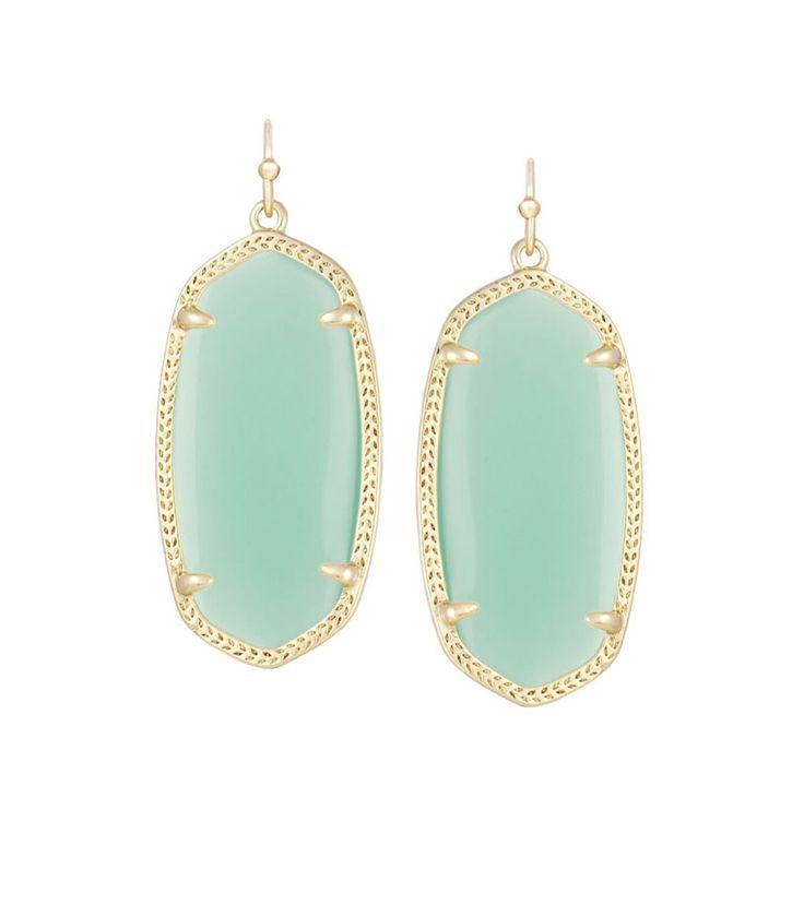 Kendra Scott Elle Chalcedony Mint Green Glass Earrings 14K Gold Plated