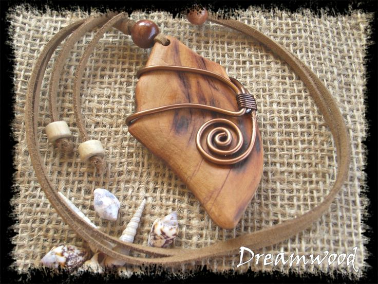 handmade driftwood necklace (leather, metal, and driftwood from Aegean Sea, Chalkidiki, Greece) https://www.facebook.com/dreamwoodart