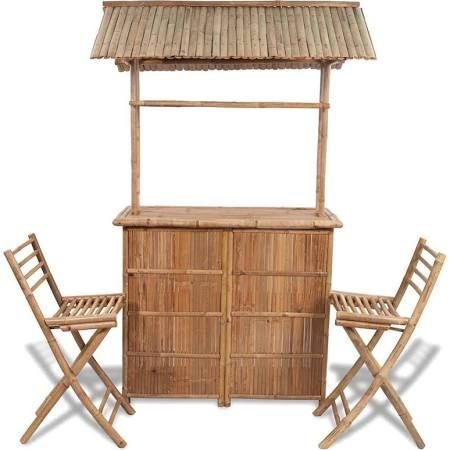 in stock good value bamboo bar counter set 2 stool 1 table a large choice among 193 garden dining set - Garden Furniture Kilquade