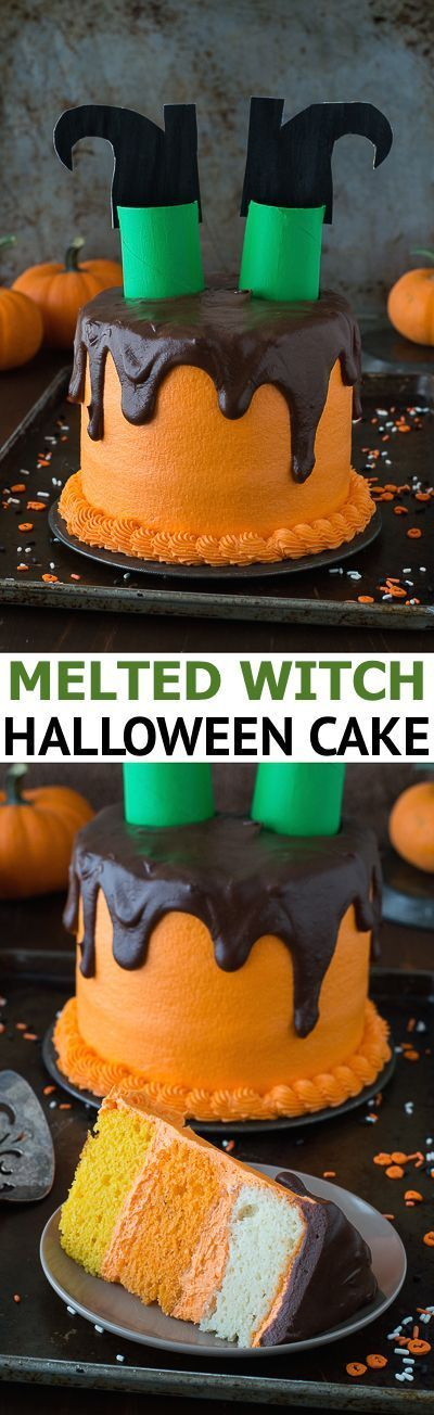 This melted witch cake is so fun! It's the perfect halloween cake! (Halloween Cake)