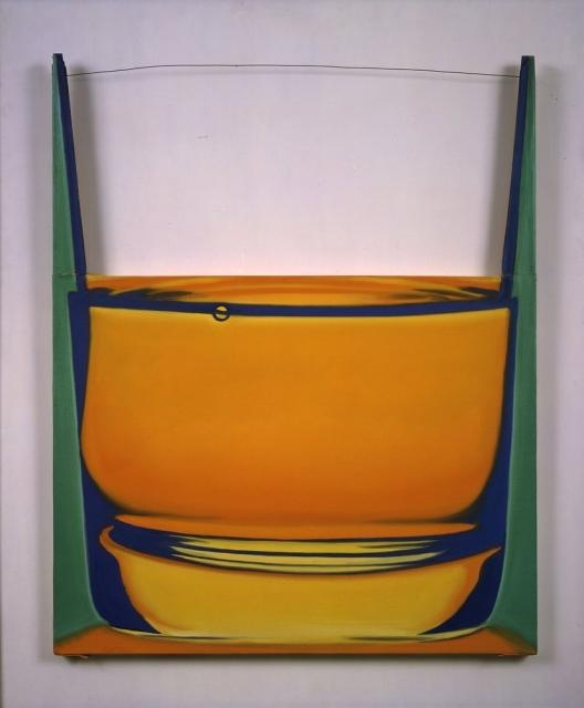 Glass of Brandy, James Rosenquist...  A witty riff on the pop art's celebration of the commonplace, this 1969 painting suggests the rim of the glass with a strand of wire.