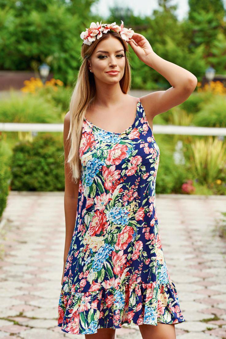 Rochie StarShinerS Vivacious DarkBlue. Rochie de vara, cu bretele subtirele din material elastic si fin, cu imprimeu floral. Acest model de rochie…