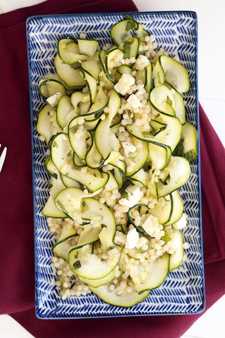 Israeli Couscous with Feta-Mint Zucchini Noodles