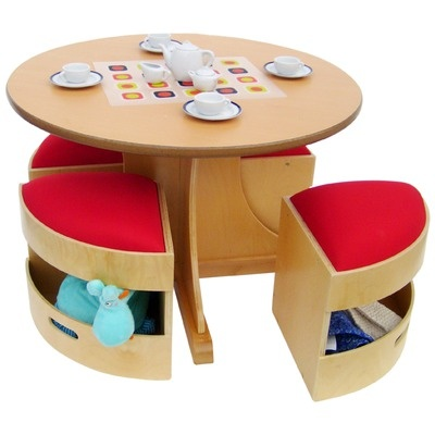 A+ Child Supply Circular Table with 4 Stools Set