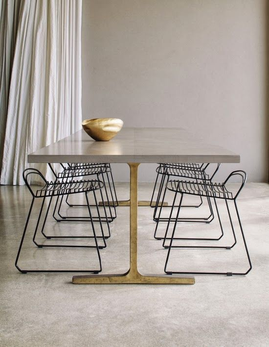 Mesa De Comedor En Concreto   Concrete Dining Table With Gold Legs.