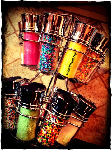 Unique gift idea for the sprinkles addict on your list! Fill a spice rack with sprinkles to make a colorful kitchen display.
