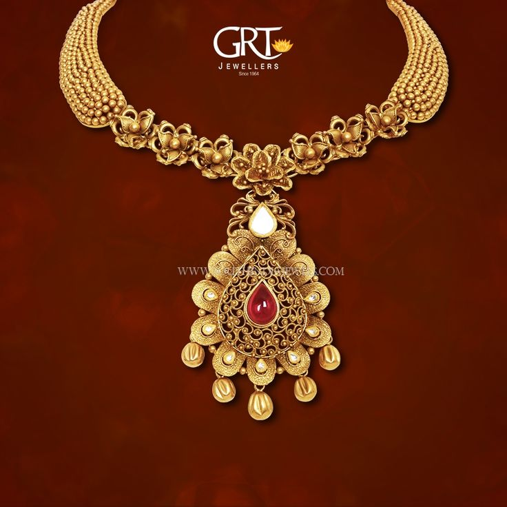 22K Designer gold necklace design from GRT Jewellers. Find more such stunning collections on our catalogue.