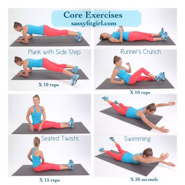 """sassyfitblog: """" Core Exercises These 4 exercises are great for strengthening your core. I do them at least 3x a week after my training run. Do each one for the prescribed number of reps or hold..."""