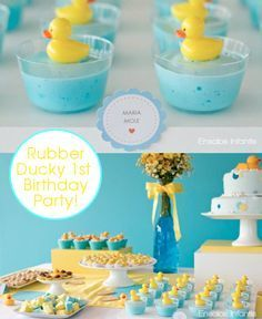 Rubber ducky theme with blue, yellow, and white - perfect for the gender neutral baby shower!   Get more great ideas at http://www.timelessweddingandevents.com
