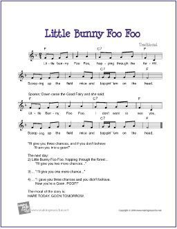 Little Bunny Foo Foo | Free Sheet Music for Guitar - http://www.makingmusicfun.net/htm/f_printit_free_printable_sheet_music/little_bunny_foo_foo_leadsheet.htm: