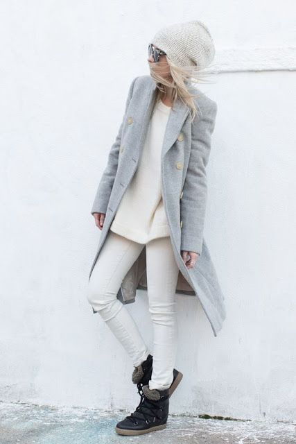 Winter fashion   Cream outfit, grey coat, beanie, boots