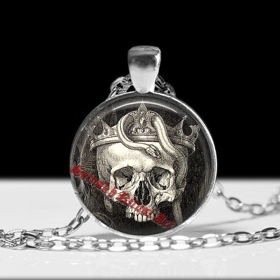 222# Occult skull pendant, skull and snake necklace, skull jewelry, magic necklace, esoteric jewelry, occult art, memento mori decor