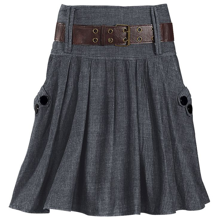 Belted Dolce Skirt, from The Pyramid Collection. $59.95. High-waisted, big-buttoned, black denim skirt, with belt.