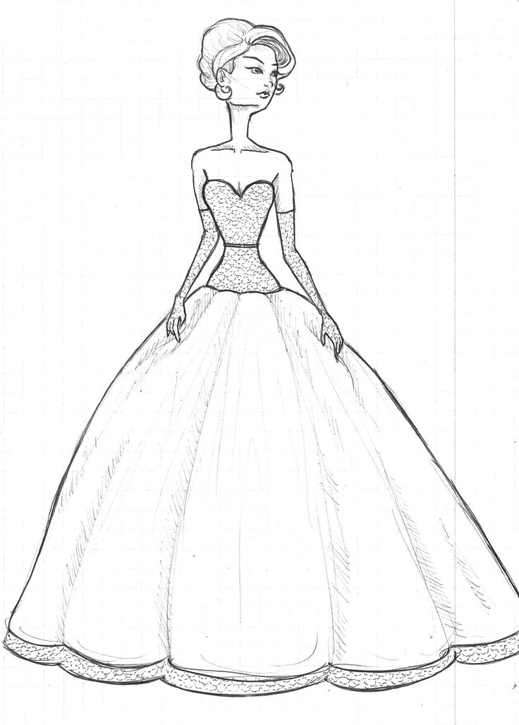 model drawing  ball  retro  dress  sketch