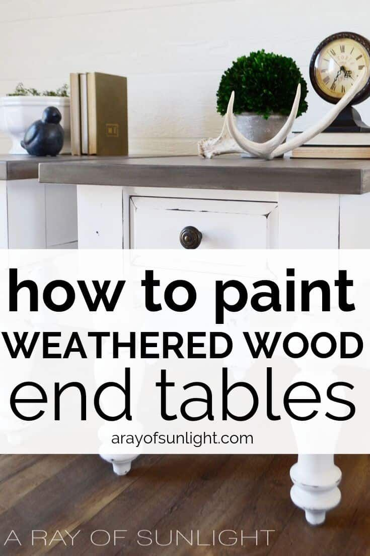 White Farmhouse End Tables With Weathered Wood Tops Farmhouse End Tables White Farmhouse Table Weathered Wood