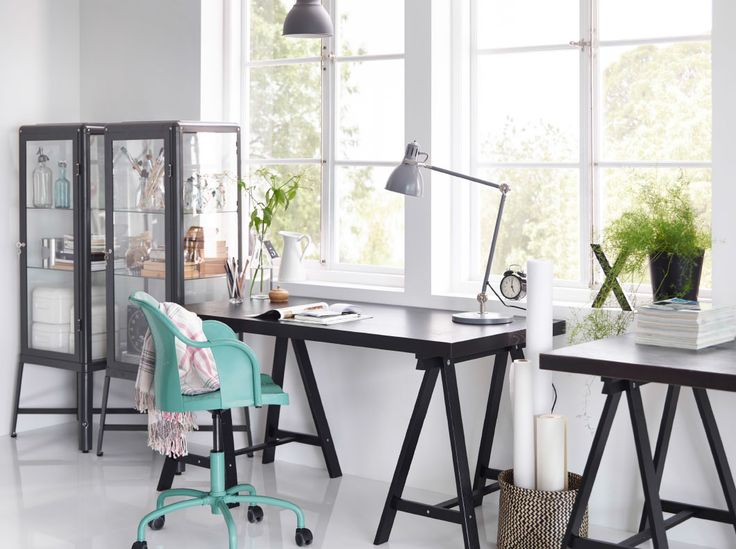 ikea white office furniture. highlight creativity with dark contrasts like this home office tornliden desk in black gray fabrikr glass cabinet and a roberget swivel chair ikea white furniture u