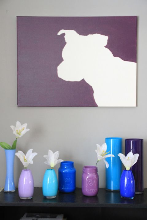 I So Want This Boxer Shadow Canvas But In Different Color (and Minus Those  Vases. Diy CanvasPainted ...