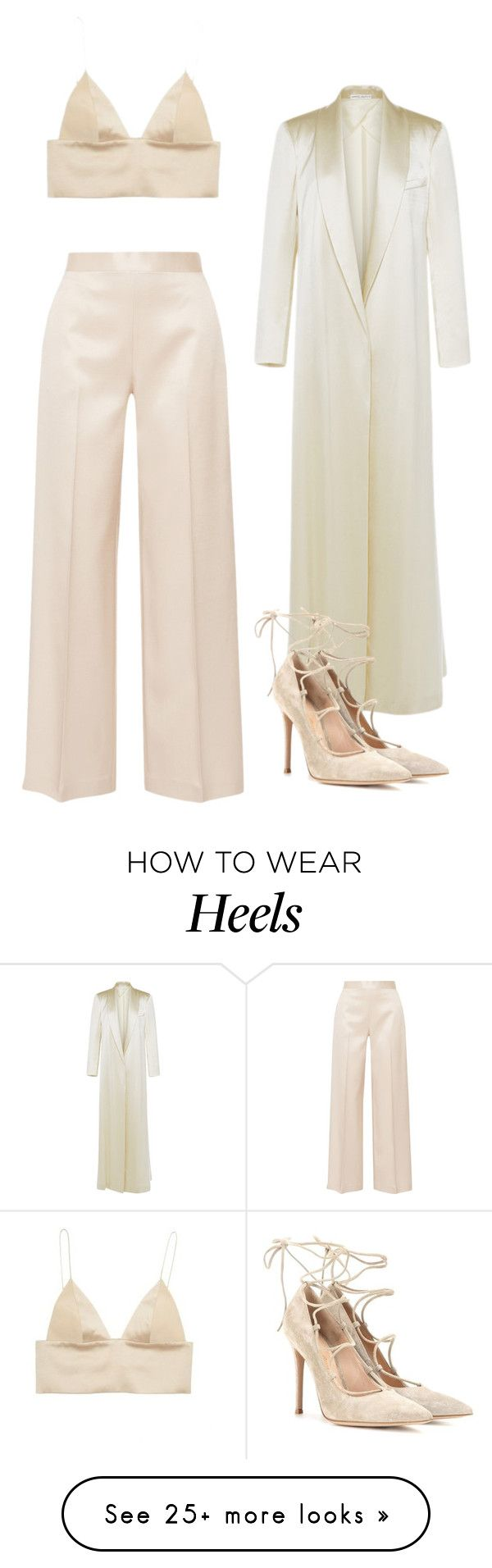 """SILK BRALETT AND HEELS"" by northwood on Polyvore featuring The Row, T By Alexander Wang, Barbara Casasola and Gianvito Rossi"