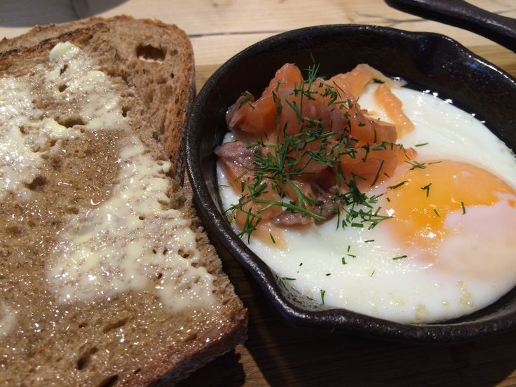 Smoked salmon with baked eggs - Le Pain Quotidien, Victoria