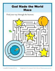 God Made the World Maze | Bible activities, Sunday school ...