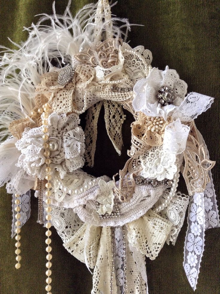 Shabby chic wreath. shabby wedding wreath.Shabby chic home decor. Mothers day gift. mothers day wreath. wedding decor.. vintage lace wreath by VintageShopCreations on Etsy