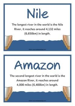 A set of 18 A5 printable fact cards that give fun and interesting facts about rivers. Each fact card has a key word heading, making this set a useful word wall for any class learning about this topic! Visit our TpT store for more information and for other classroom display resources by clicking on the provided links.