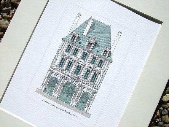 Antique Architectural Illustration of French Facade Entrance with Blue Details Archival Print