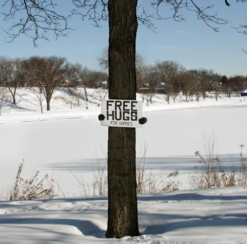 Free Hugs from a TREE for Hippies.