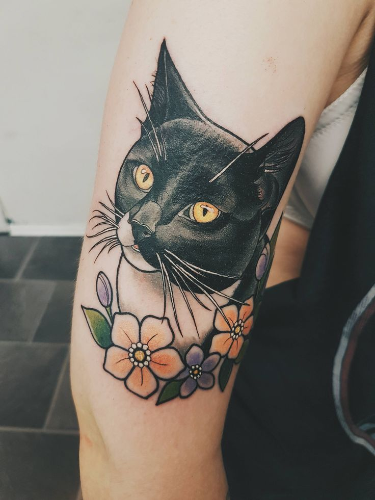 I Got My Cat Tattooed On My Arm Today Done By Marielle Blekk