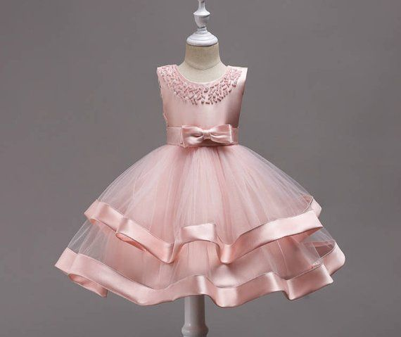 1c16245922 Blush Pink Satin Tulle Girl Dress, TuTu Dress,Flower Girl Dresses with  Pearl bow, Baby Kids Birthday Party Gift, Junior Wedding Bridesmaid |  Products ...