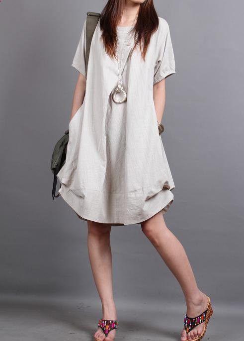 Summer dress/ cotton pleated Short sleeve dress with decorative buttons/ simple beige lantern dress
