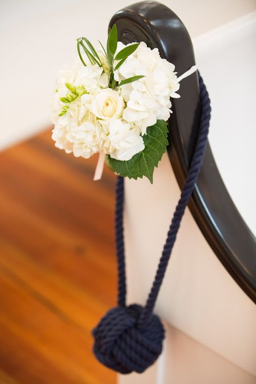 Nautical Wedding Decor - Set of 10 Rope Aisle Decorations & Pew Decor - Navy Blue, White Cotton or Brown Manila Rope