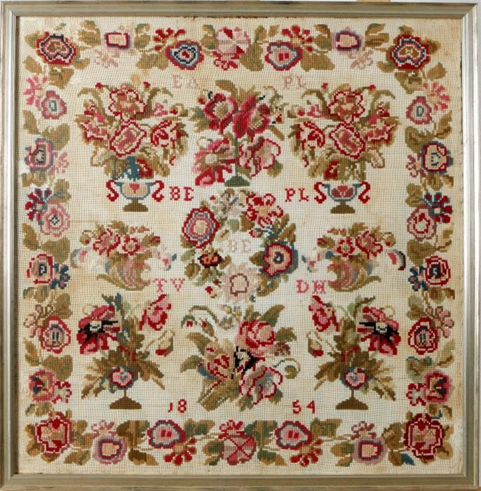 A Beautiful 19th Century Sampler ~ Possibly DUTCH ~ Initialled BD PLS TV DH & Dated 1854 ~ Twents Veilinghuis