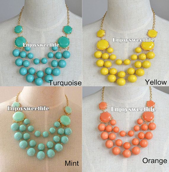 Mint Yellow Turquoise Orange Bubble necklace, Beaded,Chunky Statement neclace, bib necklace Wedding,Holiday Party Necklace on Etsy, $12.90