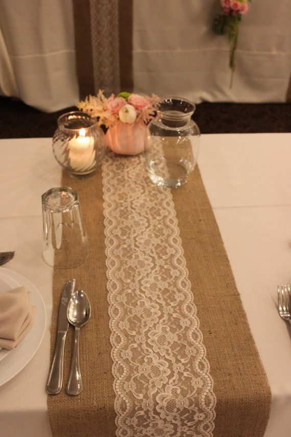 Burlap Lace Table Runner Wedding12x 144 by divinebridaldesigns, $24.00