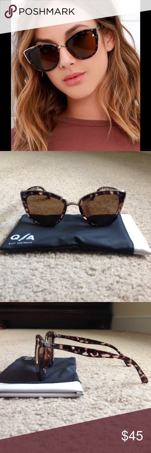 Quay Australia Sunglasses Brand new, never worn. Oversized cat eye sunnies feature plastic-coated metal frames, tortoise and gold. Quay glasses holder included. Quay Australia Accessories Glasses