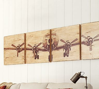 DIY Rustic Airplane Valance {Pottery Barn Knock Off). Blogger used Mod Podge to transfer a vintage looking black & white airplane pic onto wooden boards. Since she didn't need wall art, she turned the whole thing into a valance for her little boys' airplane themed room. Lots of possibilities for anyone to personalize something to their own tastes. DIY Home Accents http://www.pinterest.com/wineinajug/diy-home-accents/