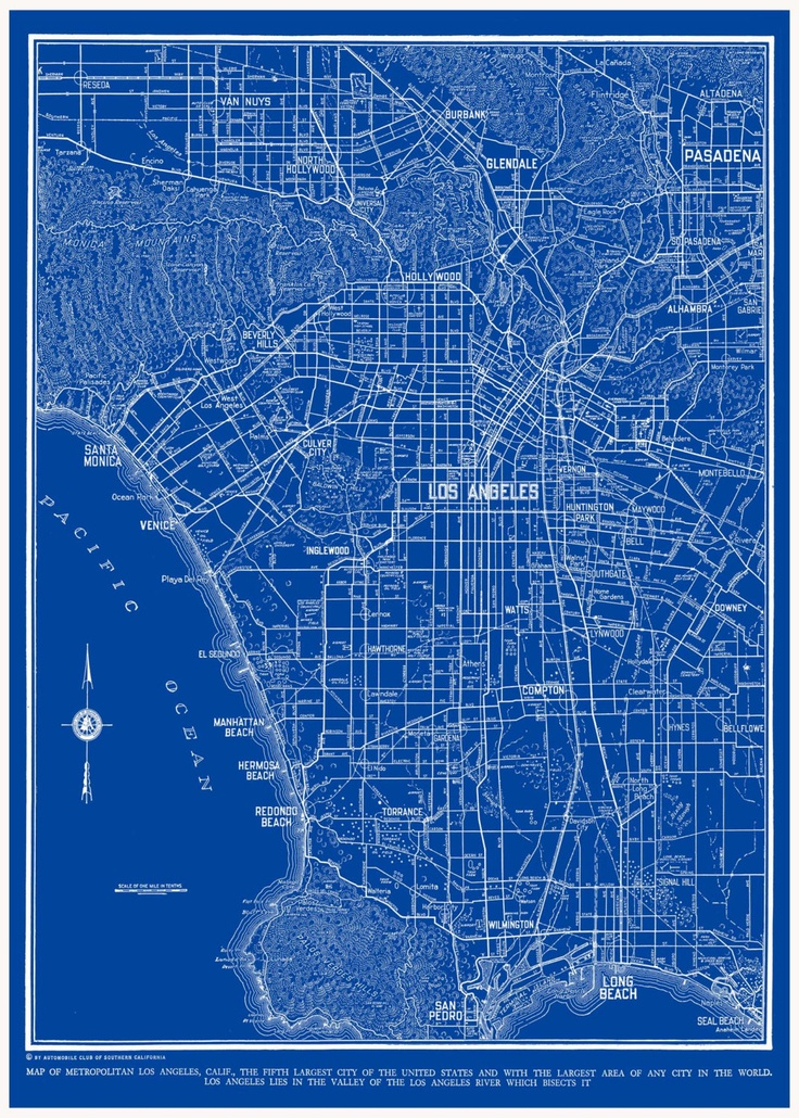 76 best los angeles images on pinterest los angeles posters and los angeles map street map vintage blueprint print by themapshop malvernweather Image collections