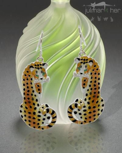 Cheetah Cat Silver Earrings - The African Cheetah is the subject of these exclusively designed earrings by Linda Bolhuis. The artist has captured the look and grace of this big cat with these silver plated earrings that have been hand-painted with colourful enamels by talented artisans. Show your love of the magnificent Cheetah while wearing this classic and distinctive pair of earrings. Free Express Delivery in Australia