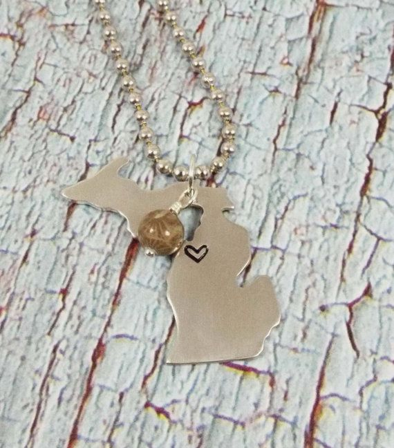 Michigan Necklace Love Michigan Michigan by LittlePineJewelry, $26.00