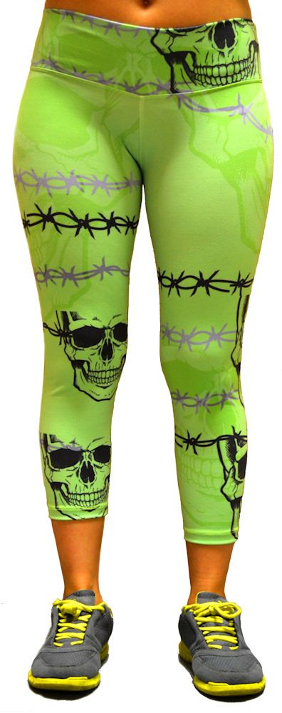 Shape Up Barbwire Green Skull Print at SanDiegoFit.com