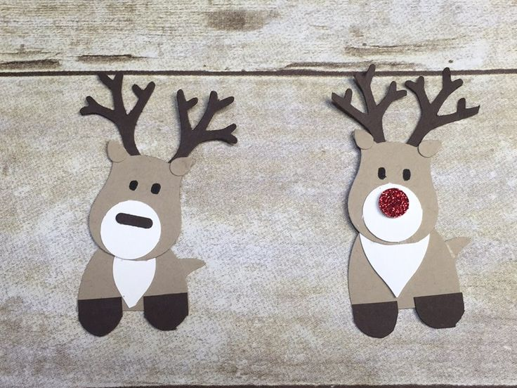 """2015 PUNCHED REINDEER made by Debbie Mason using  SU PUNCHES To make these reindeer, use the large oval punch, cut in half for the lower body. Owl builder punch for the head and his tail. Tree builder punch for the antlers and for the ears. 3/4"""" circle punch for the snout. Festive flower builder punch for the white fur on his chest. For his hooves I cut a small rectangle from early expresso paper then rounded the corners with my envelope punch board."""