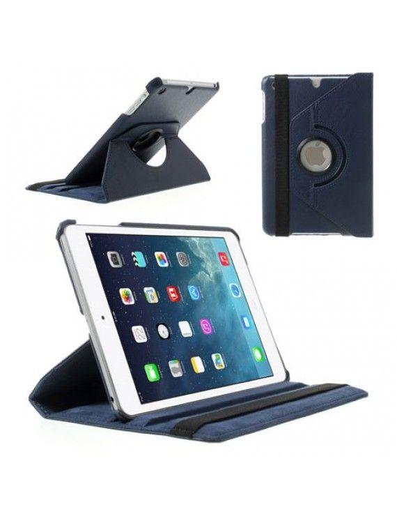Περιστρεφόμενη Δερμάτινη Θήκη Βιβλίο με Βάση Στήριξης για iPad Mini / iPad Mini 2 - Σκούρο μπλε