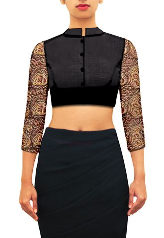 HOB Design - black-chinese-collared-blouse-with-beige-mult-27