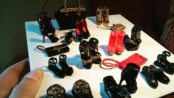 These are barbies diy repaint shoes and accessories that I make lately..