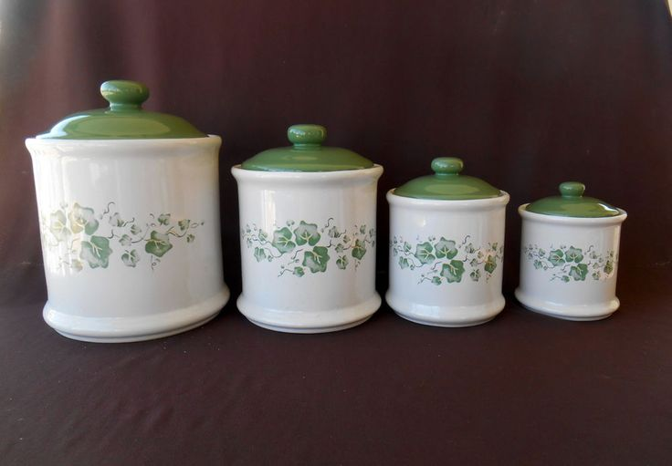 Corning Ware Callaway Green Ivy Canisters Corelle