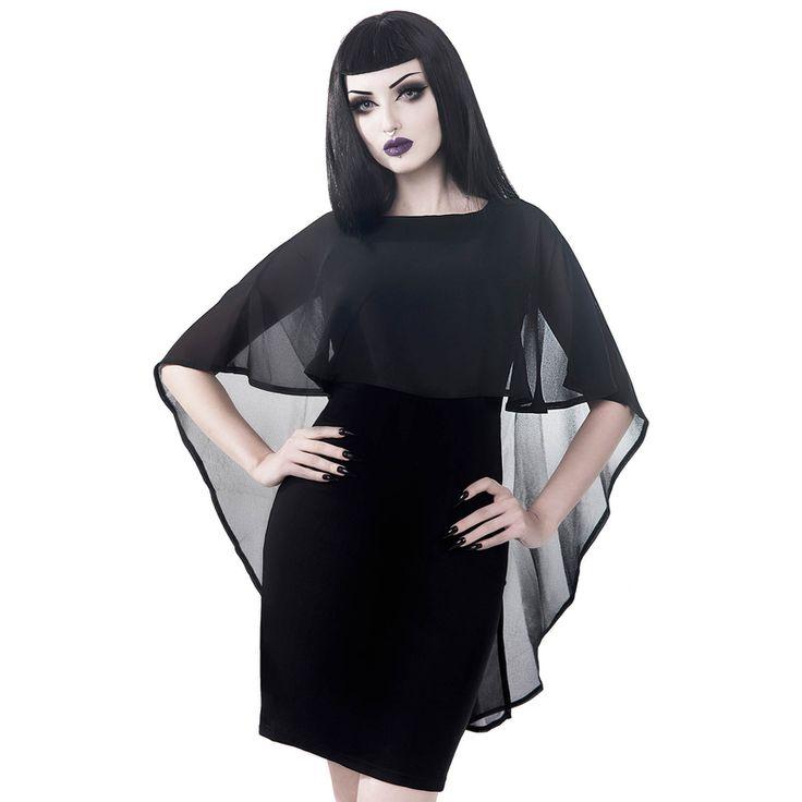 killstar rückenfreies lenox cape dress | kleid mit cape